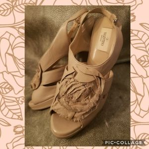 Valentino Beige Leather and Chiffon Rose Heels